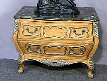 WOOD BOMBAY TWO DRAWER COMMODE WITH MARBLE TOP