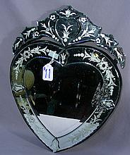 VENETIAN GLASS HEART SHAPED MIRROR