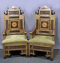 PAIR UNUSUAL OLD MOROCCAN INLAID ARMCHAIRS