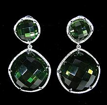 PAIR LADIES 14K WHITE GOLD, PERIDOT AND DIAMOND EARRINGS