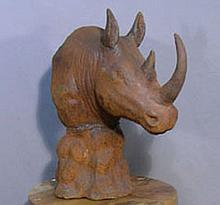 HEAVY CAST IRON BUST OF RHINO