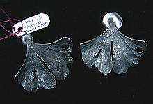 PAIR VINTAGE STERLING SILVER LEAF MOTIF EARRINGS