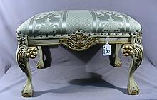 BEAUTIFUL ITALIAN HAND CARVED WOOD AND UPHOLSTERED STOOL