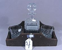 CUSTOM MADE WOOD AND CRYSTAL DECANTER SET
