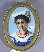 VINTAGE HAND PAINTED FRENCH PORCELAIN PLAQUE