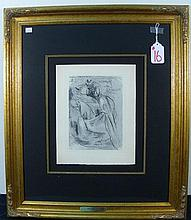 SALVADOR DALI (1904-1989) SPANISH - ORIGINAL ENGRAVING IN RARE BLUE