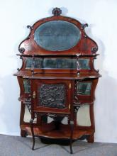ANTIQUE HAND CARVED SIDEBOARD WITH BEVELED GLASS MIRRORS