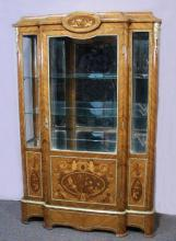 BEAUTIFUL FRENCH STYLE HAND CARVED AND INLAID CURIO CABINET
