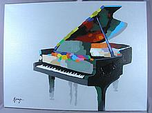 ORIGINAL POP ART OIL ON CANVAS:  PIANO