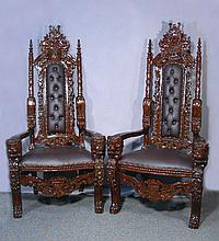 PAIR HAND CARVED MAHOGANY QUEEN AND KING CHAIRS