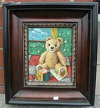 OIL ON CANVAS:  TEDDY BEAR