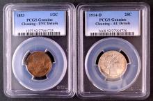1/2c, 1853, Unc; 25c, 1914D, AU; both Details