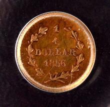 California Gold, $1/4, 1856, BG-230, AU-55