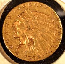 Indian $2? Gold, 1909, VF-EF