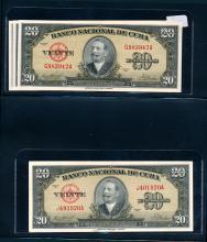 Cuba, 20 Pesos, 1958, AU-Unc, 8 pcs
