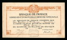 Bank of France, WWI Certificate for Exchange of gold coins for notes