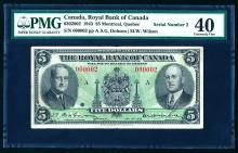 Low Serial # 1943 Royal Bank $5, #000002