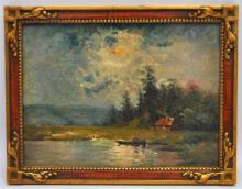 FRENCH POST IMPRESSIONIST LAKE OIL ON PANEL