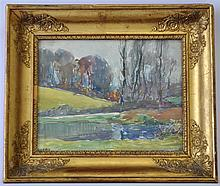 OCTAVE LAFAY (French 1878-1937) WATERCOLOR POND
