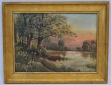 FRENCH OIL ON BOARD L. BOIVIN - LAKE SUNSET