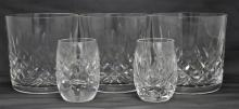 5 WATERFORD CRYSTAL LISMORE SHOT & OLD FASHIONED GLASSES