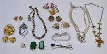 15 pc 1950-60s VTG  RHINESTONE JEWELRY ITEMS.