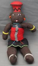 SOUTH AFRICAN ZULU BEADED DOLL WITH BABY