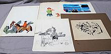 5 R. JOHN HOLMGREN (1897- 1963) ORIGINAL ILLUSTRATION / SKETCHES