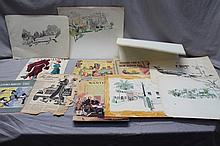 6 R. JOHN HOLMGREN (1897- 1963) ORIGINAL ILLUSTRATION / SKETCHES
