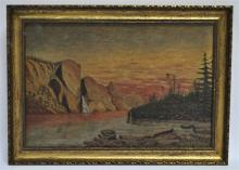 19th c. AMERICAN WEST OIL PAINTING