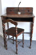 ANTIQUE AMERICAN TELEPHONE TABLE  WITH INKWELL INSERT