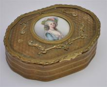FRENCH BRONZE PORCELAIN PORTRAIT JEWELRY CASKET