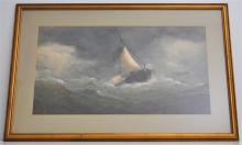 LARGE 19TH C. ORIGINAL MARITIME GOUACHE