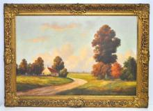 1940s OIL ON CANVAS LANDSCAPE NY STATE