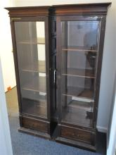2 19TH C. VICTORIAN TALL DISPLAY CABINETS