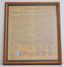 FRAMED 1972 DECLARATION OF INDEPENDENCE & 1ST DAY STAMPS