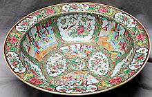 19th c. ROSE MEDALLION HUGE WASH BOWL