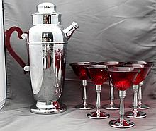 ART DECO BAKELITE CHROME & RUBY GLASS COCKTAIL SET