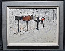 JACK BANHAM COGGINS (1911 - 2006) ORIGINAL SNOWY MAILBOXES