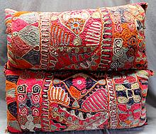 LARGE PAIR EMBROIDERED CREWEL TRIBAL PILLOWS