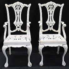 PAIR ANTIQUE FRENCH DOLL CAST IRON GARDEN SEATS