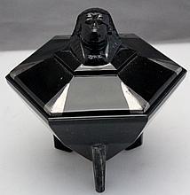 ART DECO TAUSSAUNT POWDER JAR SPHYNX