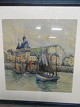 Frank WILL (1900-1951). «le Tréport». Aquarelle. Signée en bas à droite. 46 x 44 cm à vue. Légèrement insolée..