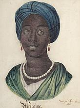 MOSNIER Henri (XIXème siècle). «L'africaine». Aquarelle signée et datée 1840 en bas à droite. 42 x 32 cm à vue