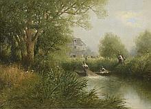 Thomas Louis. «la relève des filets». Toile signée en bas à gauche. 22.5 x 45.5 cm