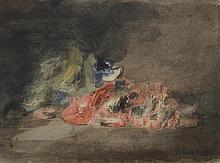 BERGERET Denis Pierre. «nature morte aux crevettes». Aquarelle signée en bas à droite. 18 x 24.5 cm à vue. /2