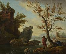 Ecole Française début XIXème. «pêcheurs et lavandières». Toile 38 x 46 cm. /1