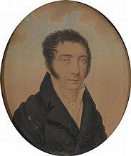 Ecole Française XIXème. «portrait d'homme en buste». Aquarelle à vue ovale. 18 x 15 cm
