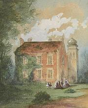 THOMAS Louis. «Réunion de famille dans le parc du château». Aquarelle signée en bas à gauche. 19 x 26.5 cm