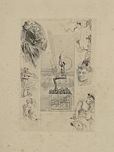 Félicien ROPS (1833-1898). «La Lyre, 1887». Héliogravure reprise à la pointe sèche, 6ème et dernier état. Signée dans la planche «Félicien Rops» et annotée «A-d Abstrat». 22,5 x 15,6 cm au coup de planche (bonnes marges) ; 32,2 x 24,8 cm (la
